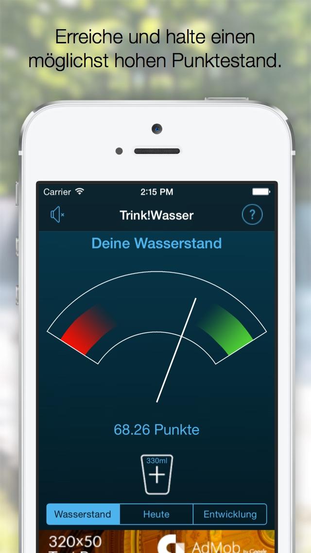 Dein Wasserstand visualisiert dein Trinkverhalten über mehrere Tage. Ziel: Erreiche einen möglichst hohen Punktestand und halte diesen.