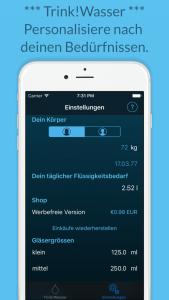 Trink!Wasser - Personalisiere unsere Trink App nach deinen Bedürfnissen.