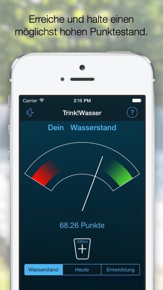 Dein Wasserstand visualisiert dein Trinkverhalten über mehrere Tage. Dein Ziel: Erreiche einen möglichst hohen Punktestand und halte diesen.